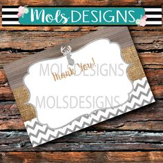 Instant Download DEER Metal Grey Old Wood THANK You BURLAP Chevron Flat 1 Sided 4x6 Baby Couples Vintage Boy Shower Sprinkle Note Card