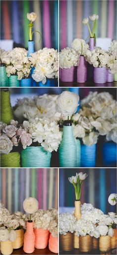 TABLES: Yarn or colored string/rope wrapped bottles (beer, wine, etc.) and cans, to dress up tables - cheaply - in your colors.