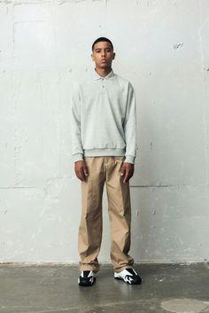 BERKHAN grey cara shirt beige pants and nike jordan14 retro basketball shoes