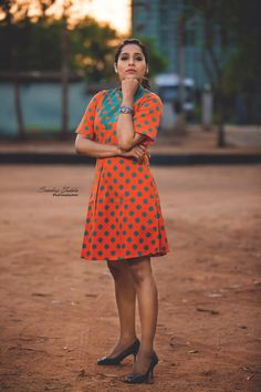 Beautiful anchor and actress Rashmi Gautham in orange and powder blue color combination knee length dress with polka dots. 14 May 2019 Blue Color Combinations, Powder Blue Color, Anchor, Polka Dots, Celebrity, Actresses, Indian, Orange, How To Make