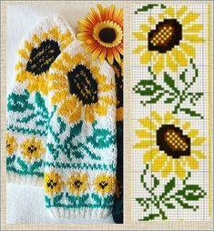 Knitting Paterns, Knitting Charts, Crochet Stitches, Knit Mittens, Mitten Gloves, Knitting Socks, Cross Stitch Rose, Cross Stitch Flowers, Little Cotton Rabbits
