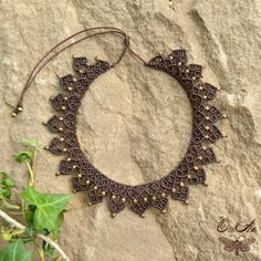 Macrame necklace with brass or wooden beads