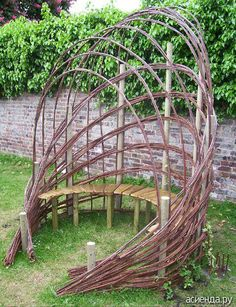 Garden bench with willow frame