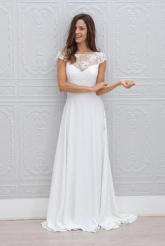 Sale Beautiful Open Back Wedding Dress Lace Top Wedding Dress,Chiffon Wedding Dresses,Long Wedding Dress,Open Back Bridal Gown,Cap Sleeves Bridal Gown Wedding Dress Train, Top Wedding Dresses, Wedding Dress Chiffon, Cheap Wedding Dress, Wedding Gowns, Lace Chiffon, Lace Wedding, Mermaid Wedding, Party Dresses