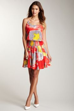 Halston Heritage Tie Shoulder Smocked Waist Dress by Blowout on @HauteLook