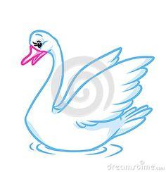 Beautiful white swan isolated image animal character   cartoon illustration