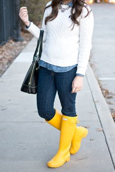 Winter Layers with yellow hunter boots