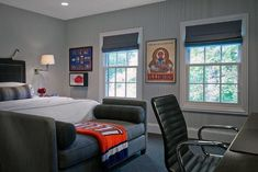 View in gallery transitional masculine bedroom showcases a plush way to decorate the foot of bed . man cave small room ideas decorating home design bedroom Small Room Bedroom, Small Rooms, Home Decor Bedroom, Bedroom Ideas, Dorm Room, Small Space, Garage Bedroom, Design Bedroom, Gray Bedroom Walls