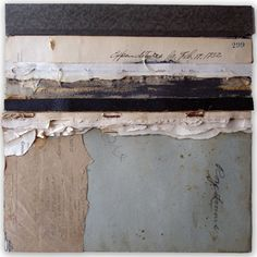 """Crystal Neubauer Original Fine Art Collage Matted Mixed Media 10"""" x 10"""" in 20"""" square frame"""
