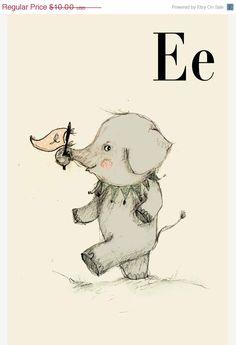 VENTE E pour éléphant Alphabet animal imprimer 6 x 8 par holli, $8.00
