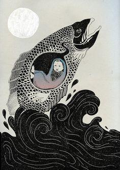 "redlipstickresurrected: ""Katie Scott (British, b. based London, England) - Pradyumna And The Fish, 2010 Mixed Media "" Illustration Design Graphique, Art Et Illustration, Art Inspo, Black And White Art Drawing, Art Du Collage, Art Vintage, Art Japonais, Soul Art, Arte Pop"