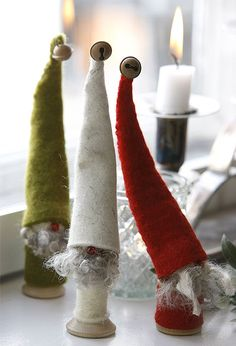This is our classic bearded tomte made with a wooden frame. He has a tangled felted wool hat and a long beard made with genuine grey Gotland or white Icelandic sheepskin. Every 30 cm tomte is handmade in Örnaholm, Sweden, and is totally unique. Danish Christmas, Christmas Gnome, Christmas Projects, Scandinavian Christmas, Vintage Christmas, Christmas Holidays, Christmas Decorations, Christmas Ornaments, Father Christmas