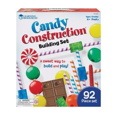 Kids will develop fine motor and early STEM skills as they build sweet structures. Includes 92 durable candy pieces in a variety of fun, familiar designs. Features Activity Guide with illustrated step-by-step building directions. Stem Skills, Fine Motor Skills, Candy Land Theme, Creative Curriculum, Thing 1, Willy Wonka, Thinking Skills, Stem Activities, Building Toys