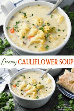 This cheesy, easy Cauliflower Soup recipe is a cozy, nourishing and satisfying meal for chilly days. A warm bowl of cream of cauliflower soup is perfect alongside a loaf of crusty bread or a basket of fluffy biscuits! Healthy Soup Recipes, Chili Recipes, Easy Cauliflower Soup, Fluffy Biscuits, Vegetarian Soup, Homemade Soup, Soups And Stews, Easy Meals, Basket