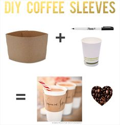 diy coffee sleeves wedding via 7 Things Every Wedding Coffee Bar Needs to Have
