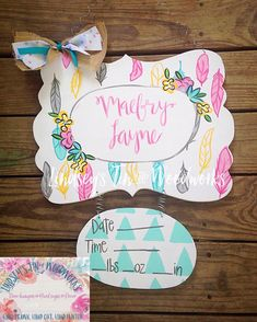 Who doesnt love feathers floral? We are in love with the bedding match we ha Hospital Signs, Hospital Door Hangers, Baby Door Hangers, Wooden Door Hangers, Baby Decor, Nursery Decor, Baby Door Wreaths, Birth Announcement Sign, Birth Announcements