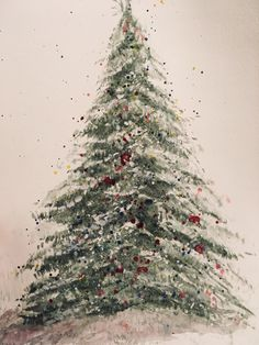 Happy Holidays! This is a watercolor tree I painted on Christmas morning.