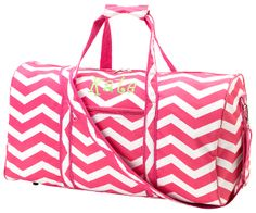 Pink Chevron Duffel Bag is sooooo cute and part of a set. Any lady will love this duffle bag to carry all their things in!