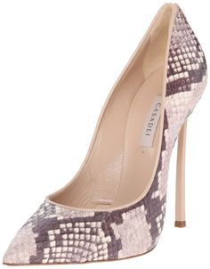 Casadei Women's 1F080D125 Dress Pump, Roccia, 8.5 M US. Pointed-toe pump in patterned python texture featuring piping trim with slit at back heel. Molded stiletto heel.