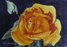 Yellow Rose Flower Painting Art Print of от BarbaraRosenzweig, $52.00