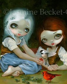 """Snow White and Rose Red - Strangeling: The Art of Jasmine Becket-Griffith """"Snow White and Rose Red"""" 16""""x20"""" Acrylic Painting - AVAILABLE Prints, Canvas & Original Painting are here, we ship worldwide:  http://www.strangeling.com/shop/animal-art-prints/snow-white-and-rose-red/"""
