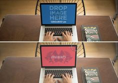 New MacBook Pro at a Wooden Desk Mockup