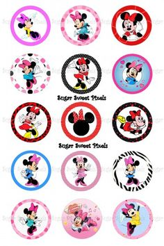 Minnie Mouse Inspired 1 Inch Circle Bottlecap Images C02c7dc3 Jpg