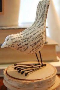Paper mache bird and wire