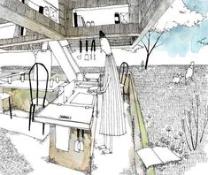 Love Drawing and Design? Finding A Career In Architecture - Drawing On Demand Architecture Drawings, Facade Architecture, Small Garden Landscape, Landscape Design, City Sketch, Urban Street Art, Collage Illustration, Drawing Skills, Beautiful Drawings