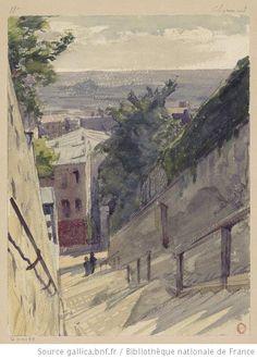 Montmartre, escalier de la rue du Mont Cenis  Auguste Louis Marie Ottin, 1882