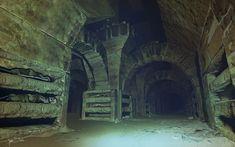 Catacomb halls, James Strehle on ArtStation at… Abandoned Places, Abandoned Houses, Dungeons And Dragons, Fantasy World, Fantasy Art, High Fantasy, Fantasy Landscape, Environmental Art, Dark Souls