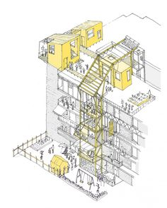 Image 2 of 11 from gallery of UN-Habitat Announces Winners of Mass Housing Competition. In Valencia, the housing block is altered by temporary additions. Image Courtesy of Improvistos Nunca Vistos (María Tula García Méndez & Gonzalo Navarrete Mancebo) Architecture Sketches, Architecture Graphics, Architecture Portfolio, Architecture Plan, Architecture Diagrams, Axonometric Drawing, Planer Layout, Concept Diagram, Urban Planning