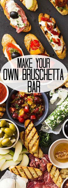 This Make Your Own Bruschetta Bar will be the star of the party. It's easy to put together and there are endless combinations to make!   www.countrysidecravings.com
