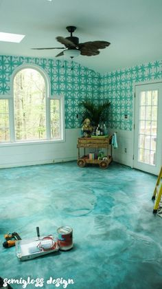 DIY stained concrete is an easy affordable solution for your ugly floors! Come check out how I made my concrete floors beautiful with acid stain. Diy Concrete Stain, Acid Stained Concrete, Painted Concrete Floors, Painting Concrete, Plywood Floors, Concrete Countertops, Concrete Lamp, Concrete Design, Basement Flooring
