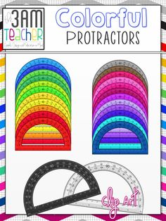 26 Colorful Protractor Clip Art Images for Commercial Use!! $3.50