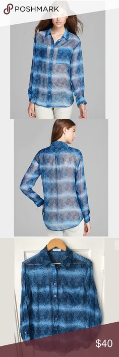 "Equipment Femme Python Print Blouse Parisian Blue Equipment Femme 100% Silk Python Print Blouse in Parisian Blue. Size small. Underarm-to-underarm: 21"". Equipment Tops Button Down Shirts"