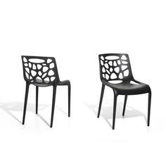 Tuinstoel - Plastic stoel zwart - Stoel van kunststof - MORGAN
