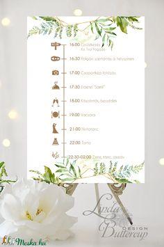 Esküvői Poszter A3, program, Esküvő Dekor, Felirat, Tábla, Vintage, Elegáns, geometrikus, greenery program, vendégváró (LindaButtercup) - Meska.hu Cute Wedding Ideas, Wedding Goals, Our Wedding Day, Diy Wedding, Wedding Venues, Wedding Planning, Dream Wedding, Wedding Inspiration, Wedding Program Sign