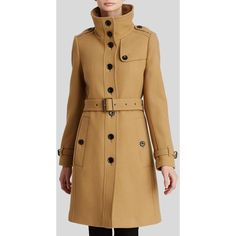Burberry Brit Rushfield Wool Blend Coat ($657) ❤ liked on Polyvore featuring outerwear, coats, camel, military coat, brown coat, military fashion, burberry coat and camel coat