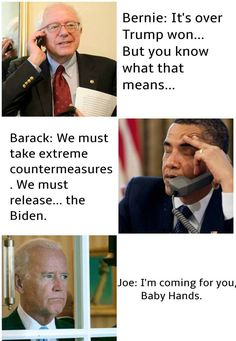 Senator Bernie Sanders, President Barack Obama and Vice-President Joe Biden.