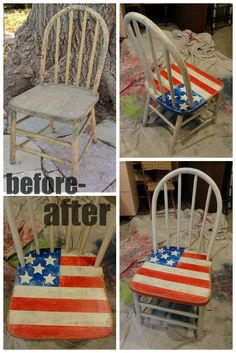 Another old chair thrown out :' (  But I fixed it and re-painted it!  I have two others and think it would be fun to paint them with the French and British flags!  http://freddyandpetunia.files.wordpress.com/2013/02/02-07-014.jpg