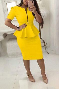 New Solid Color Zipper Set Bodycon #shortsleevedress #bodycondress #beautydresses #fashioninspiration #gorgeous #Stylishvovo
