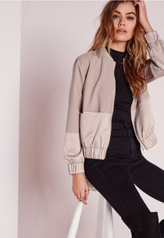 Tall Exclusive Satin Two Tone Bomber Jacket Mauve - Missguided