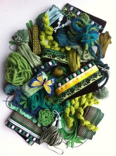 Green Trimmings Arts And Crafts Projects, Crochet Motif, Embellishments, Wool, Green, Vintage, Ornaments, Decoration, Decor