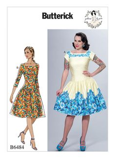B6484 6-22 | Butterick Patterns Misses' Square-Neck, Dropped-Waist Dresses and Petticoat Ruffle
