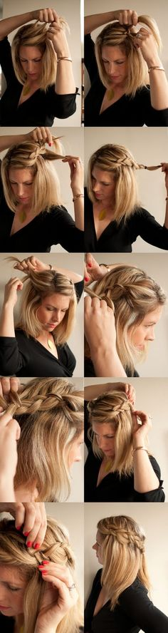 Step 1 – Part your hair – I did mine on the side but this style is also cute with a centre part.  Step 2 – Take a section at the front and split into three.  Step 3 – Plait together in a French braid, bringing the sections in from underneath.  Step 4 – Braid in section from the top only, leaving the rest of your hair to hang down under the braid.  Step 5 – Finish the first side in a plait and secure with an elastic.  Step 6 – repeat steps 2-5 on the other side.  Step 7 – Tie the two sides…
