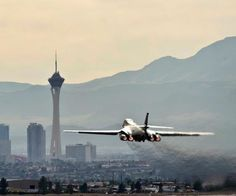 Took picture of Bomber taking off from Nellis AFB, towards Vegas Skyline. Air Force Bases, Us Air Force, Military Jets, Military Aircraft, Aviation Art, Civil Aviation, Women In History, Ancient History, Armed Forces
