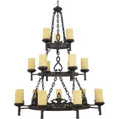 """Quoizel LP5018 La Parra 18 Light 3 Tier 48"""" Wide Pillar Candle Chandelier with C,"""