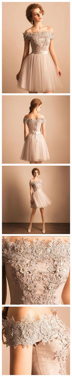 7 Off-the-shoulder Appliqued Beading Homecoming Dresses APD2644a Lace-up Homecoming Dresses, Appliqued Homecoming Dresses, Tulle, Mini dress, party dress