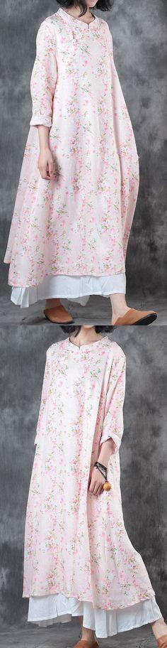 women light pink linen dress trendy plus size stand collar linen clothing dresses women Chinese Button kaftans